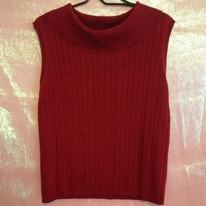 🔴 WHITE STAG RED KNIT SLEEVELESS TURTLENECK LG